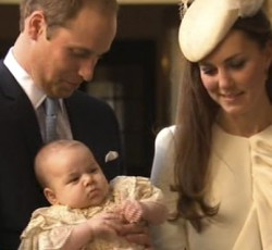 Prince William, Catherine and Prince George arrive at Chapel Royal